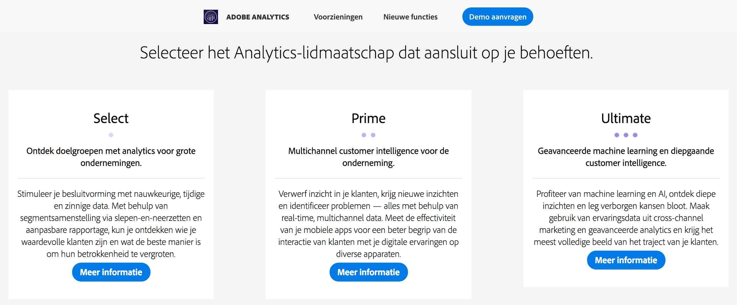 Adobe verkoopt Analytics producten in drie varianten