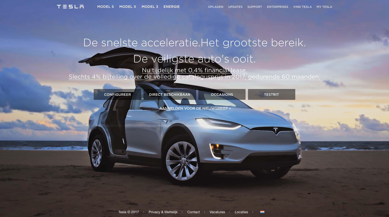 Home page Tesla Webiste