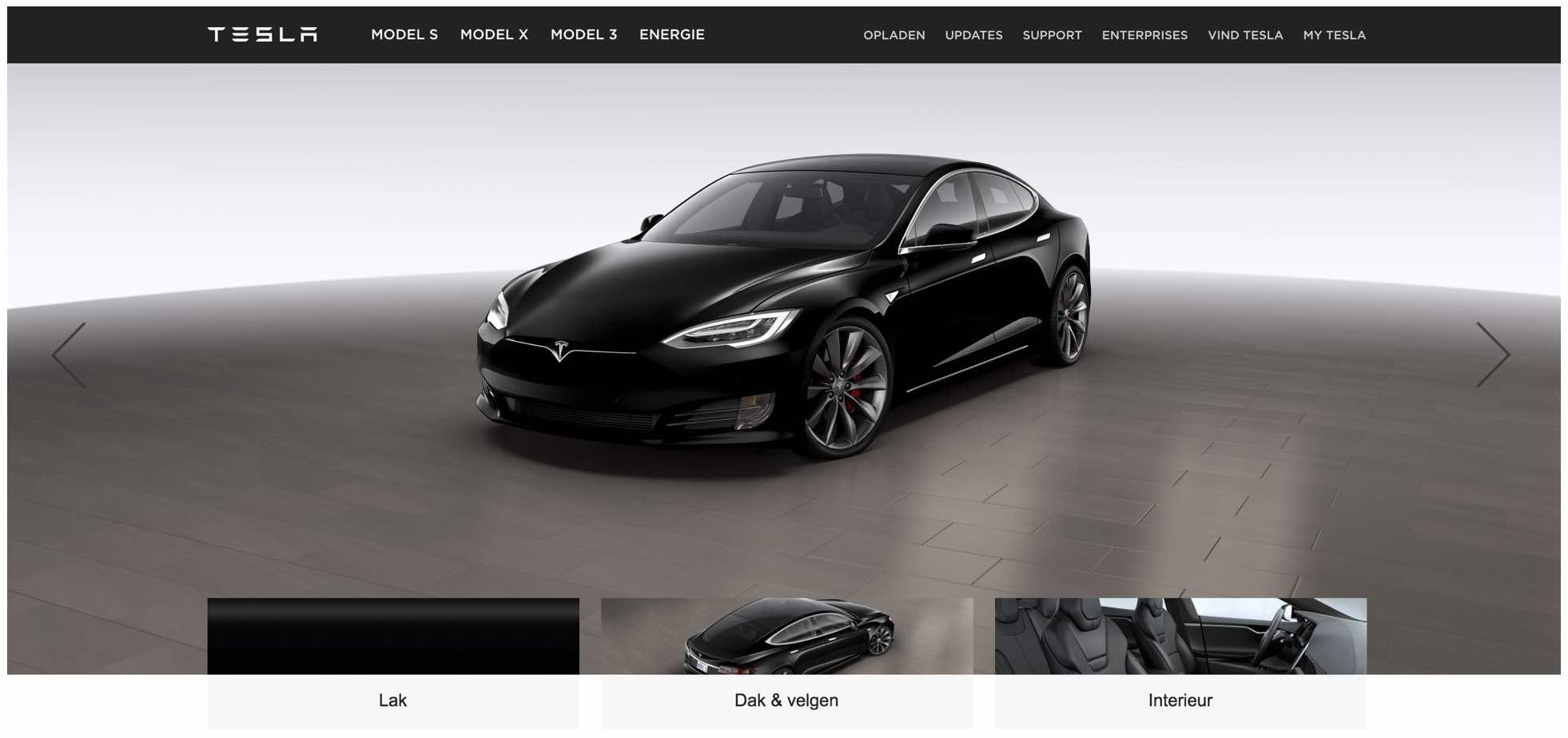 Je eigen Tesla samenstellen via Tesla Studio