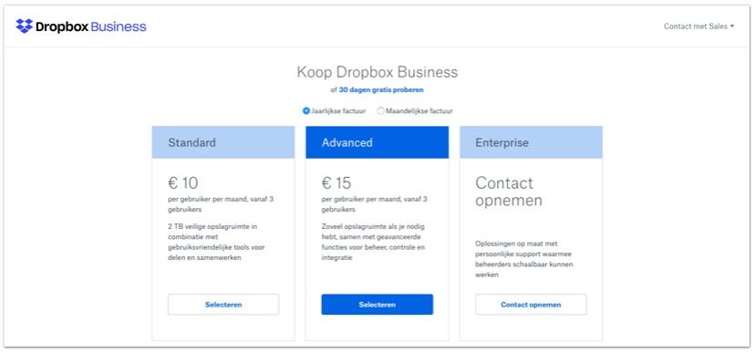 Dropbox Business Subscription varianten